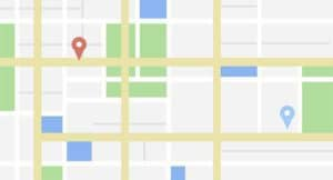 Google my Business map with map markers