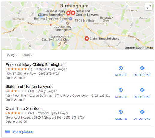 personal injury solicitors birmingham google my business results
