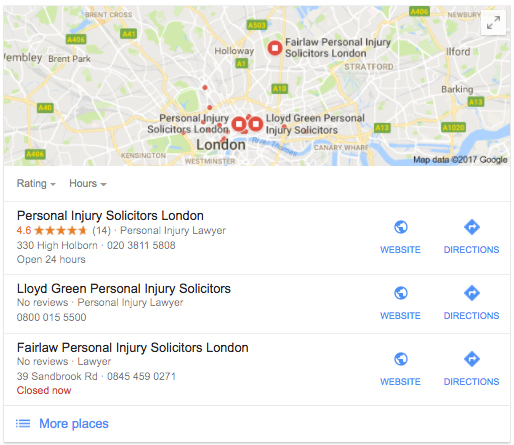 personal injury solicitors london google my business
