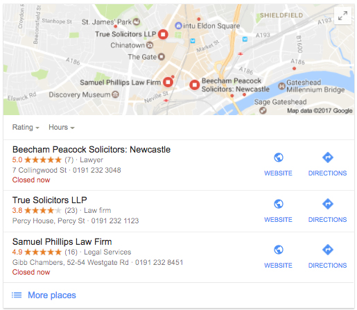 personal injury solicitors newcastle google my business results
