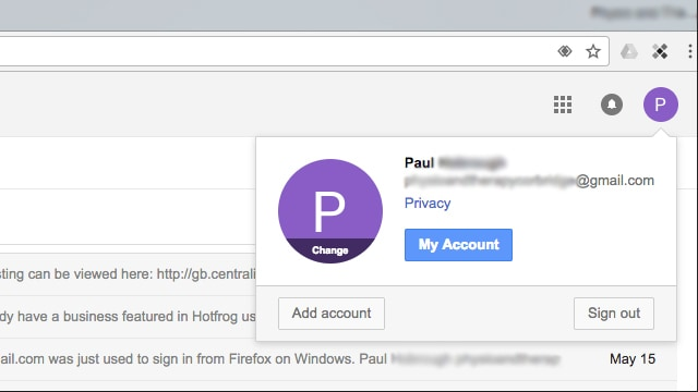 Client's Gmail account