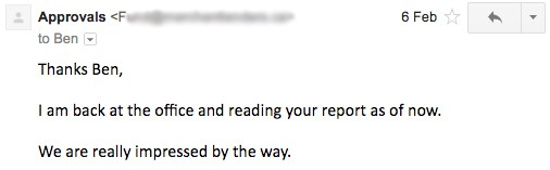 Email from happy finance sem client