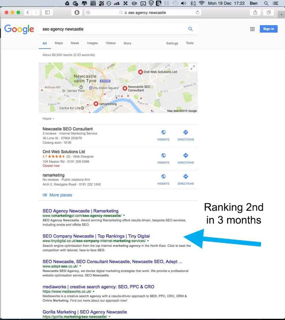 SEO agency Newcastle Google rankings