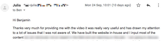 Julia's emailed response to my video audit